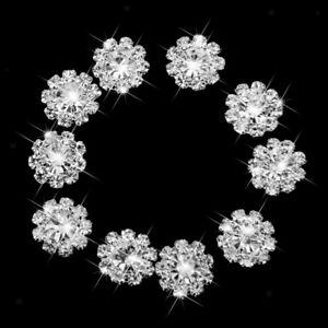 10 Crystal Rhinestone Floral Buttons Flatback Embellishments DIY Craft 12mm
