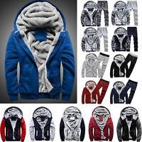 Mens Winter Warmer Thick Fleece Hoodie Coat Zip Up Jacket Outwear Tracksuit Tops