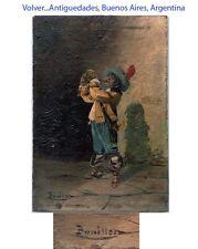 BOUILLON nice old oil on panel swordsman D'artagnan ? drinking Chianti wine 6'