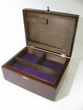 Antique Solid Poplar Jewelry Chest With 3 Compartment Tray