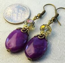 "Oval Magenta Purple Jade Crystal Pierced Dangle Earrings 2"" Long *Bronze Gold"