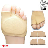 Set of 4 Fabric Metatarsal Sleeve With Sole Cushion Gel Pads Foot Shock Supports