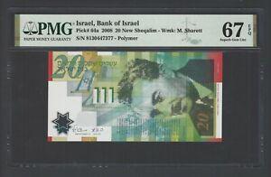 Israel 20 New Sheqalim 2008 P64a Uncirculated Grade 67