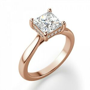 2.20 Ct Moissanite Princess Cut Rose Gold Promise Ring 18K Solitaire Girl ring