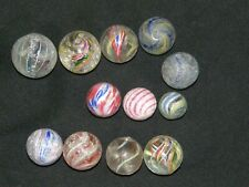 Lot Collection 12 Antique German marbles Clambroth Paneled Onion Skin latticino