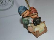 Away We Go 2003 Berta Hummel - Goebel Christmas Ornament New Kids/Dog/Sled