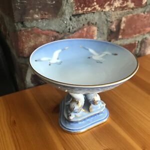 "5.5"" Vintage Copenhagen B & G Denmark Blue White Compote Bowl w Dolphins Seagull"