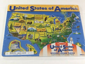 Melissa and Doug United States of America Wooden Jigsaw Puzzle - New