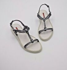 NIB Prada Sport Silver Metal Nappa Silk Leather Knotted Sandals New 6.5 36.5