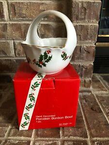 Christmas Holly fine porcelain - Bonbon Bowl