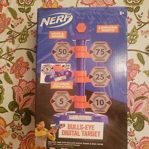 Nerf Bulls-Eye Digital Target Kids Toy 6 Swinging Targets Lights & Sounds New