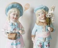 """Pair Antique German Porcelain Bisque Figurine Boy & Girl Victorian 9""""Statues Lot"""