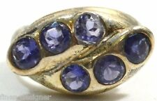 .925 heavy Sterling Silver Ring Purple created amethyst round stone womens 8 VTG