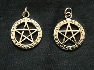 925 Sterling Silver So Mote it Be Pentagram Pendant/Theban/Witchcraft/Wicca/Goth