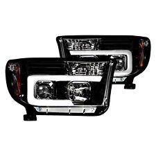 For Toyota Tundra 07-13 Recon Black/Smoke LED DRL Bar Halo Projector Headlights