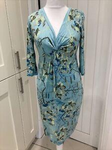 Fat Face Turquoise Floral & bird print Cotton Dress - Size 14