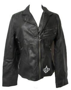 Saints Womens Size Small Touch by Alyssa Milano Faux Leather Jacket A1 1294