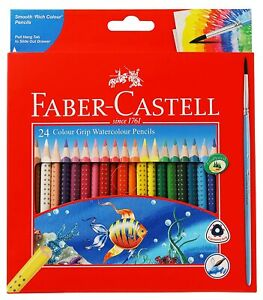 Faber Castell Colour Grip Water Colour Pencils -12 & 24 Shades Triangular barrel