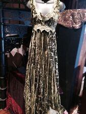 Hand Made Vintage Olive Green Lace Maxi Dress Shaved Silk Velvet