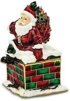 Bejeweled Santa in Chimney Trinket Box