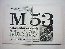 1970'S PUB SNECMA TURBO REACTEUR M 53 ENGINE DASSAULT MIRAGE G8 FRENCH AD
