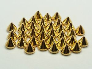 200 Gold Tone Metallic Rock Punk Acrylic Spike Taper Stud 8X8mm Flatback No Hole