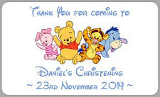 21x CHRISTENING BABY WINNIE THE POOH STICKERS BOYS THANK YOU LABELS PERSONALISED