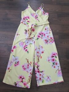 QUIZ LADIES YELLOW PINK GREEN WHITE FLORAL BELTED CROPPED JUMPSUIT PLUS SIZE 18