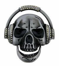 Mens Belt Buckles Skull Head Phone Some Rhinestones Music Hip Gothic DJ Bikers.
