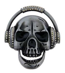 Mens Belt Buckles Skull Head Phone Some Rhinestones Music Hip Gothic DJ Bikers.