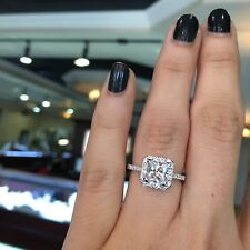 Certified 2.35Ct Princess Cut Diamond Halo Engagement Ring Solid 14K White Gold