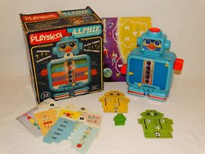 Vintage 1982 Playskool Alphie Electronic Robot With Box And Accessories Working