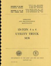 TM9 8012 ~ M38 Jeep ~ Operation & Organizational Maintenance Manual ~ Reprnt
