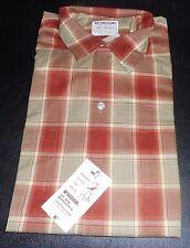 NOS 50's-60's McGREGOR Orange Khaki Rust SHADOW PLAID! Loop Collar! ROCKABILLY M