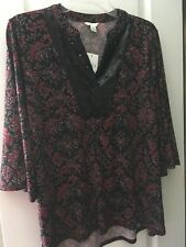 Red/Black Printed W/Sequined Neck Short Sleeves Holiday Shirt Top XS NWT