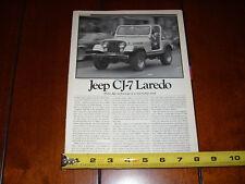 JEEP CJ7 LAREDO - ORIGINAL 1980 ARTICLE