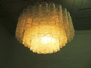 Doria Kronleuchter mit Glasröhrchen dreistufig 60er 70er Jahre Design