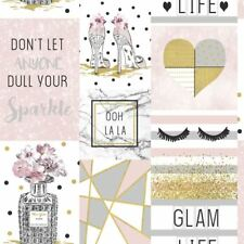 GLAM LIFE COLLAGE WALLPAPER PINK - ARTHOUSE 699402 GLITTER NEW