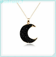 Women Pendant Necklace Gmestone Moon Gold Druzy Chain Simple Jewelly Gift