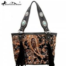 Montana West Brown Black Fringe Floral Paisley Handbag Purse
