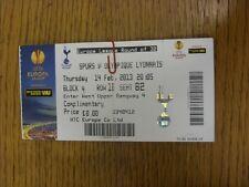 14/02/2013 billet: Tottenham Hotspur/OLYMPIQUE LYONNAIS [EUROPA LEAGUE] (VD