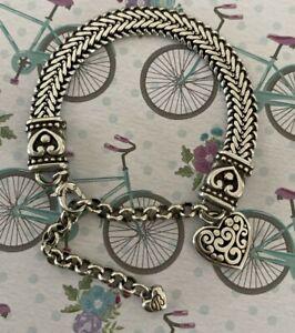 "Brighton CONTEMPO Heart Charm Snake Chain Custom ROLO Bracelet Silver 9"""