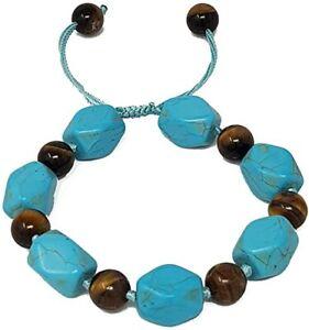 Women's Tiger Eye and Turquoise Gemstone Draw String Bracelet for Women