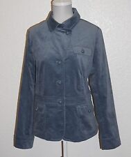 TALBOTS Steele Blue Velveteen Button-Front Lined Jacket Size 14