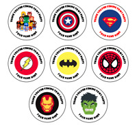 Superhero Personalised Thank You Stickers Party Bag Sweet Cones Birthday Tag