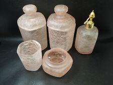 Gorgeous Vintage French Marcel Franck Pink Crackle Glass Atomizer-jar-box-set