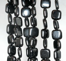10X10MM BLACK JET GEMSTONE PERFECT SQUARE 10MM LOOSE BEADS 16""