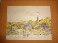 Vintage Color Print Landscape of Mystic River Signed By Elizabeth Barriere