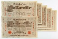 1910 (1918-1922) Reichsbanknote Lot Of 6 Secuenciales 1000 Marco Billetes Xf-Au