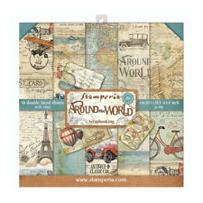 """NEW Stamperia 8"""" x 8"""" Paper Sheets Around The World"""
